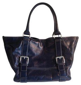 Michael Kors Metallic Satchel in Metallic Navy