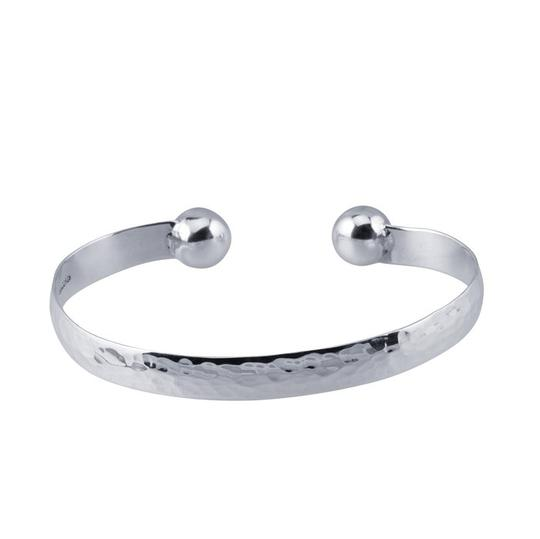 Other Handcrafted Handmade Sterling Silver 7.3mm Hammered Cuff Bracelet with Ball End by BrianG @ BrianGdesigns Image 1