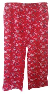 Old Navy Intimates Sleepwear Relaxed Pants Red with Gray, Dark Gray, Pink, Black & White Design