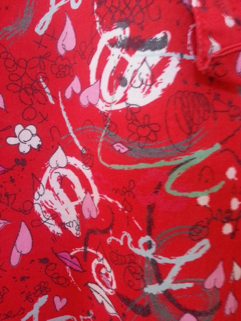 Old Navy Intimates Sleepwear Loungewear Pajama Pajamas Scribble Hearts Lips Love Hugs Kisses Cotton Nightie Easy Comfortable Relaxed Pants Red with Gray, Dark Gray, Pink, Black & White Design