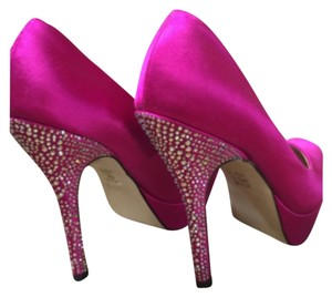 Steve Madden Hot pink satin with crystals Platforms