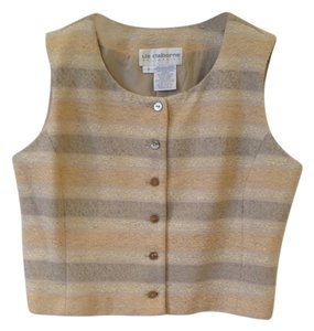 Liz Claiborne Striped Jacquard Business Casual Suiting Vest Top Beige