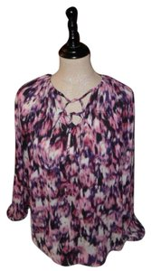 Vera Wang Peasant Top Purple Pink Splotches on White