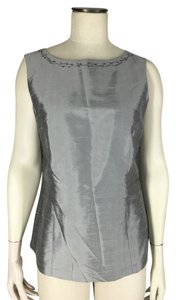 Liz Claiborne Silk Embroidered Flowers Top Gray
