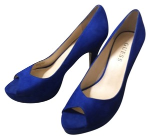 Guess Blue suede Platforms