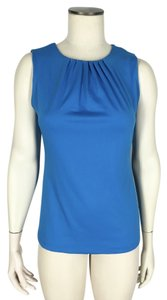 Cable & Gauge Pleated Neckline Tailored Fit Top Blue