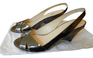 Prada Patent Leather Metallic Heels Wedges Leater Antracite (Metallic) Pumps