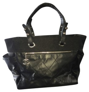Chanel Quilted Silver Hardware Large Signature Biarritz Tote in Black