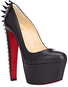 Christian Louboutin Electropump 160 Spiked Platform Victoria Daffodile Studs Celebrity Rock Punk New 36 6 BLACK Pumps