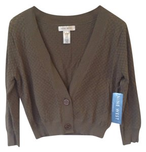 Nine West Woven Weave Sweater Cropped Cardigan