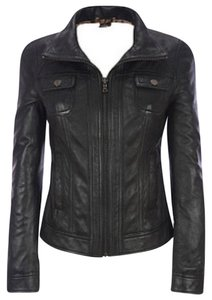 Black Rivet Leather Distressed Leather Jacket