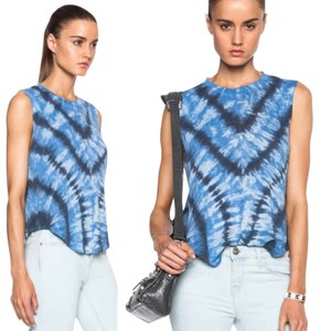 Raquel Allegra Shredded T Shirt Blue Tie Dye