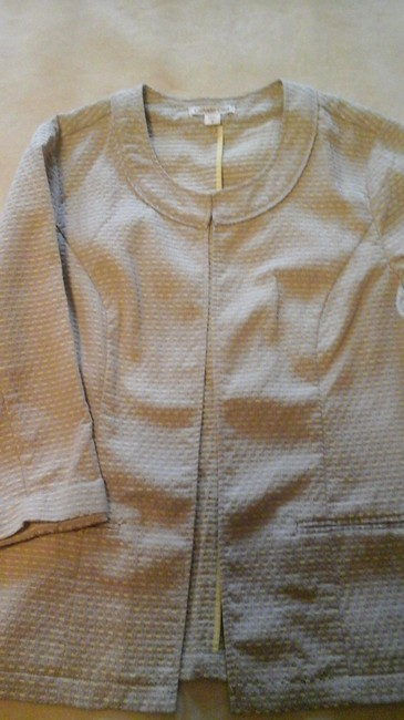 Coldwater Creek Pattern Jacket Tan with yellow accent Blazer