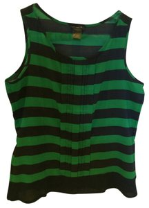 Ann Taylor Shell Top Navy and Green