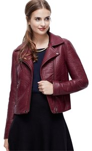 Ann Taylor Moto Wine Dark Berry Color Winterberry Leather Jacket