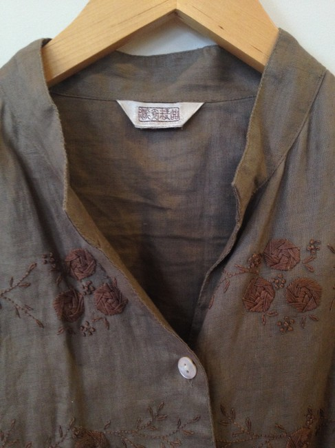 Other Linen Floral Embroidery Embroidered Casual Button Down Shirt Brown