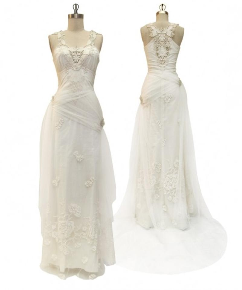 Claire Pettibone Ivory/Champagne Soft Cotton with Crochet Lace Elwin ...