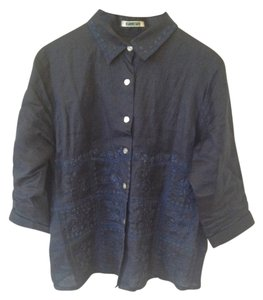 Other Linen Embroidered Floral Casual Japanese Button Down Shirt Navy Blue