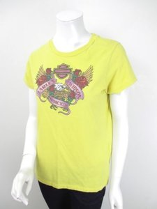 Harley Davidson Womens Savannah Ga Rose Eagle Tee T Shirt Yellow