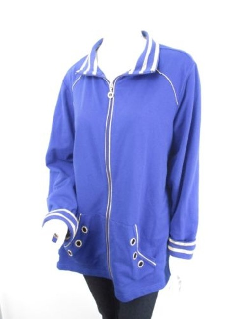 Quacker Factory Rhinestone Full Zip Track Jacket Plus 1x Sweater