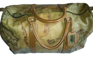 Alviero Martini Prima Classe Lock Handmade tan with iconic global print Travel Bag