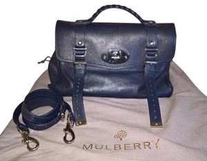 Mulberry Leather Blue Satchel in Midnight blue