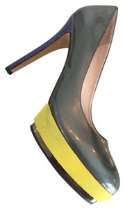Vince Camuto Dacoma Patent Leather Gray, Yellow, Navy Pumps