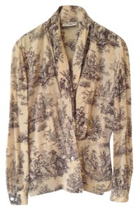 Dana Buchman Wrap Draped Silk Career Top Beige