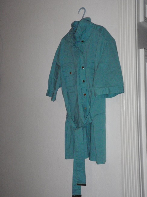 JM Collection Blouse Polo Shirt Shorts Sleeves Button Down Shirt baby blue