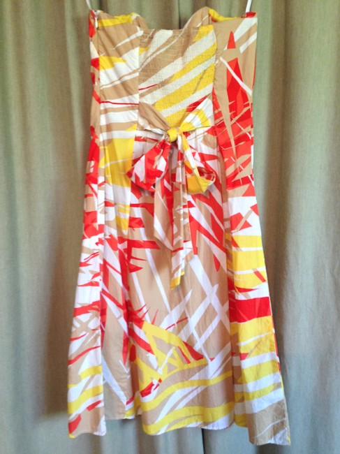 Diane von Furstenberg short dress Orange Yellow Strapless Cotton on Tradesy