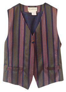 Liz Claiborne Striped Tie Back Button Vest