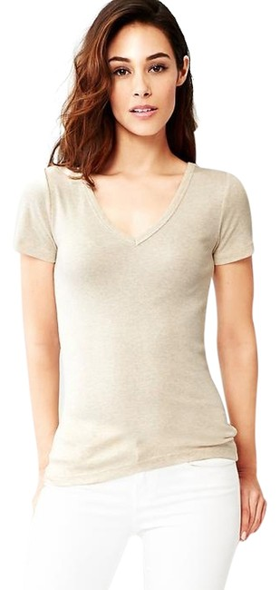 Item - Beige Sale Modern V-neck Tee Shirt Size 10 (M)