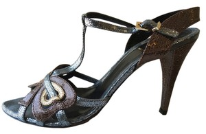 Fendi Slingback Designer Metalic Blue Brown Pumps