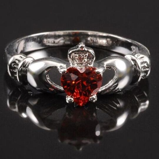 Other BNWOT ~ Red Claddagh and CZ Gemstone Ring, Size 7