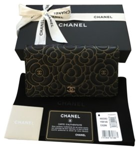 Chanel CHANEL CAMELLIAS LAMBSKIN BIFOLD LONGWALLET LIMITED EDITION