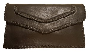 Sondra Roberts Leather Nappa Leather Envelope Black Clutch