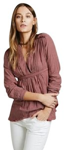 Free People All Who Wander Striped Red Combo Lined Top