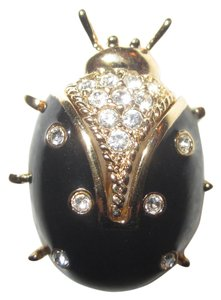 St. John Black Enamel Gold Plated Lady Bug Ladybug Pin Crystals Signed Mint!