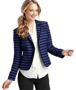 Ann Taylor LOFT Jacket Stripe Striped Work Office Corded Schoolgirl School Preppy Atl Petite 2 2p Black Blue Blazer