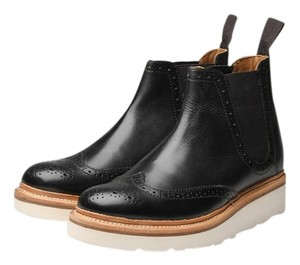 Grenson Chelsea White Sole Wing Tip Platform black Boots