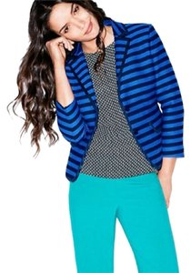 Ann Taylor LOFT Jacket Striped Petite Summer Black Blue Blazer