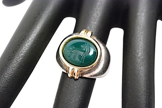 Preload https://img-static.tradesy.com/item/11149963/silver-with-green-and-gold-silvergold-wdeep-horse-carved-5-ring-0-2-540-540.jpg