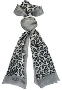 Valentino Valentino Grey Animal Print Silk Ladies Scarves