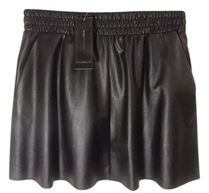 BCBGMAXAZRIA Bcbg Leather Mini Skirt Black