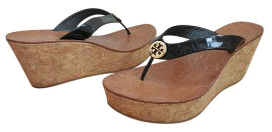 f8114900e395 Tory Burch Black Thora Cork Wedge Patent Leather ~ Gold Medallions ...