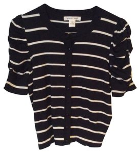 August Silk Cardigan Striped Shortsleeve Classic Sweater