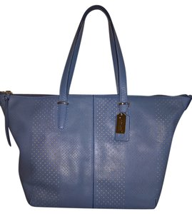 Coach Cooper Pebble Leather Satchel in Light Blue