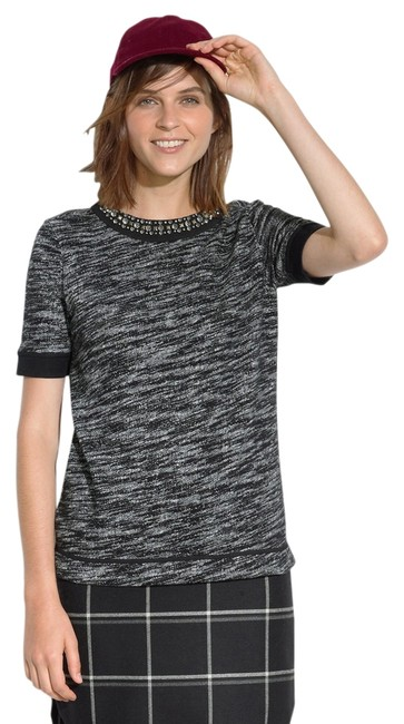 Preload https://img-static.tradesy.com/item/11151436/madewell-black-gray-sparkletrim-sweatshirt-tee-jeweled-collar-tweed-boucle-trim-j-crew-sweaterpullov-0-2-650-650.jpg