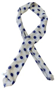 Mixit white scarf with blue polka dots and frayed edges