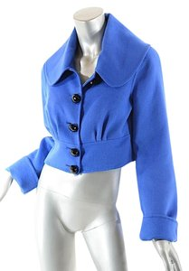 Temperley London Cobalt Angora Fleeced Crop Jacket Blue Blazer